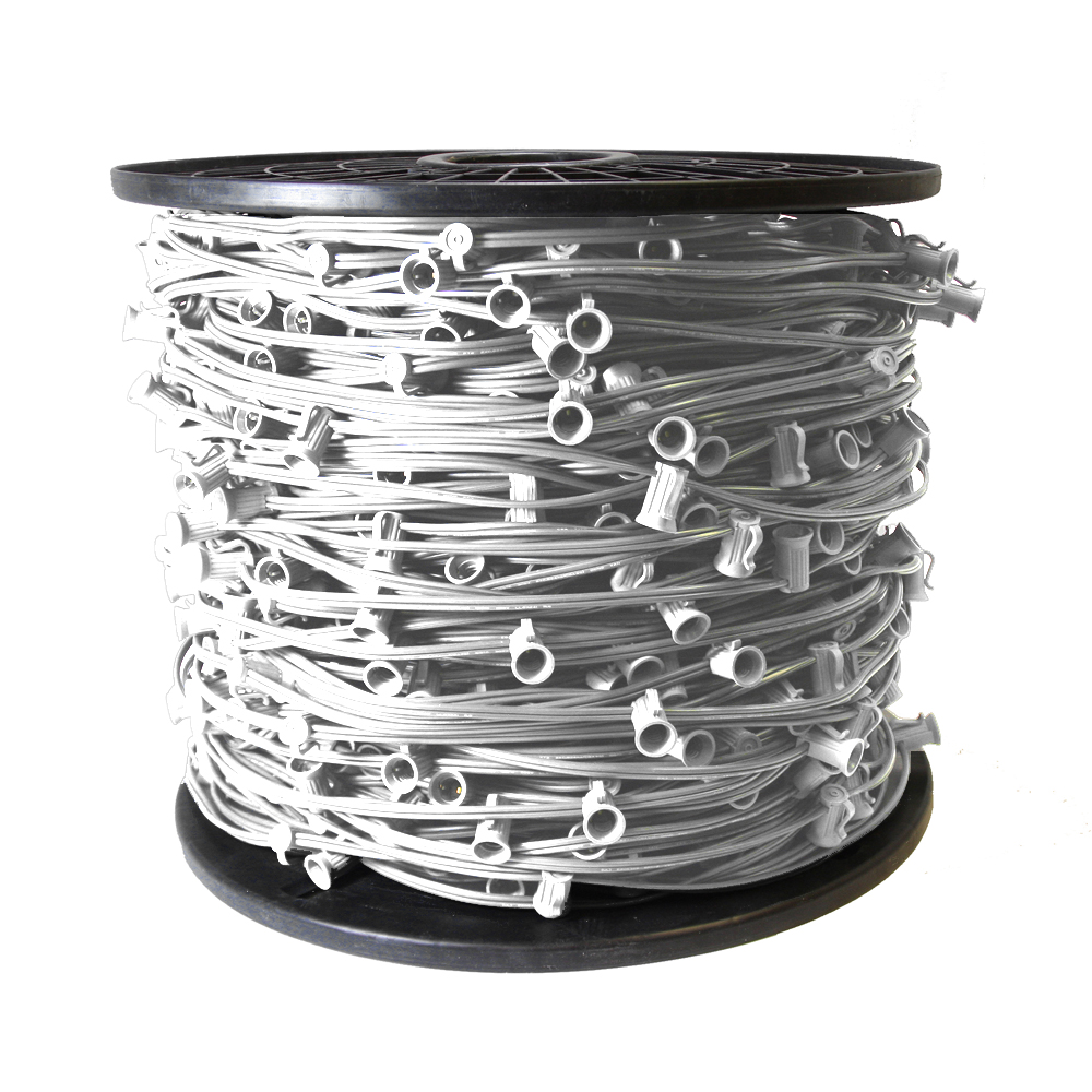 1000 Foot C7 Light Spool White Wire 12 Inch Spacing