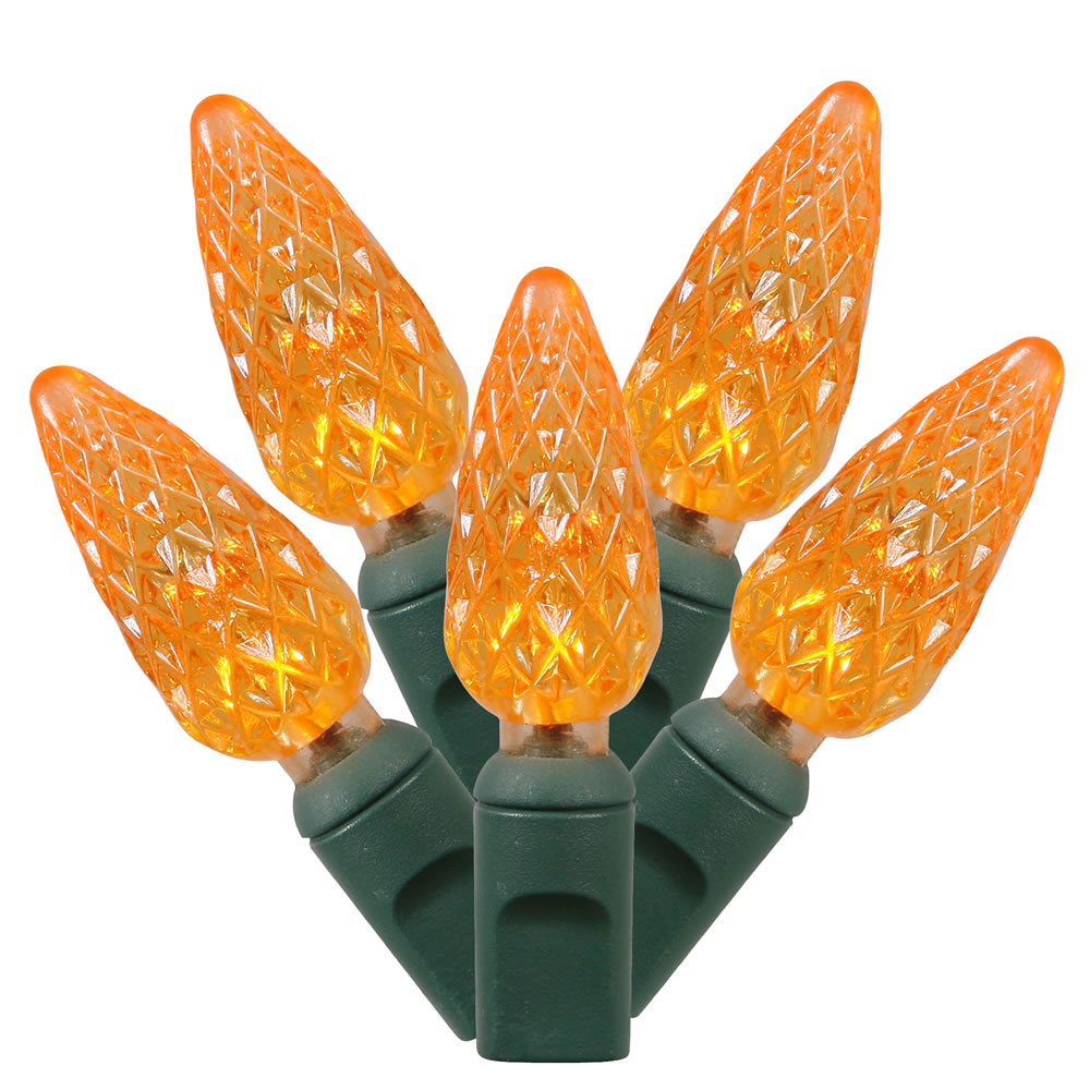 50 Commercial Grade LED C6 Strawberry Faceted Orange Halloween String Light Set Green Wire
