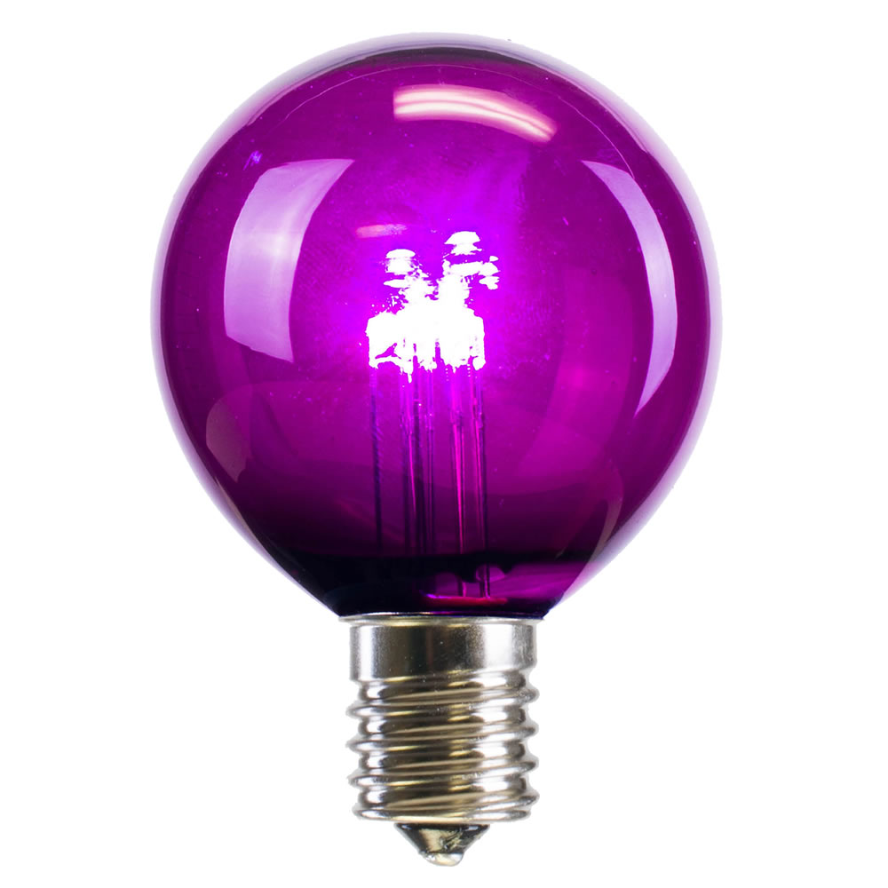 25 LED G50 Globe Purple Transparent Retrofit C9 E17 Socket String Light Set Replacement Bulbs