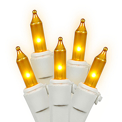 50 Gold Extra Brite String Light Set 3 Inch Spacing White Wire Box of 6