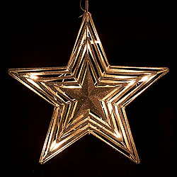 16 Inch Champagne And Silver Metal Star 10 Lights Box of 6