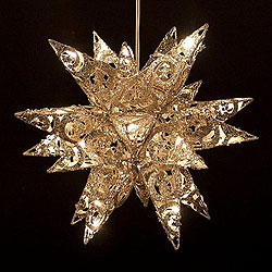 14 Inch 3D Champagne And Silver Metal Star 20 Lights Box of 4