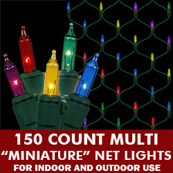 150 Multi Net Lights Green Wire Box of 6