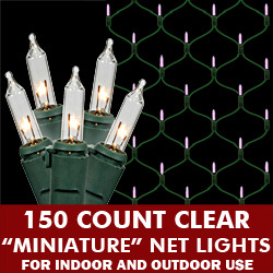 150 Clear Net Lights Green Wire Box of 6