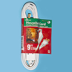9 Foot Indoor Extension Cord White Wire Box of 10
