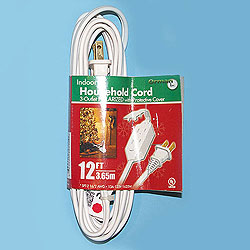 12 Foot Indoor Extension Cord White Wire Box of 10