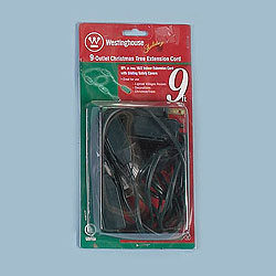 9 Foot Indoor Christmas Tree 9Outlet Extension Cord Green Wire Box of 6