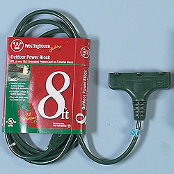 8 Foot Outdoor Power Block Extension Cord Green Wire Box of 6