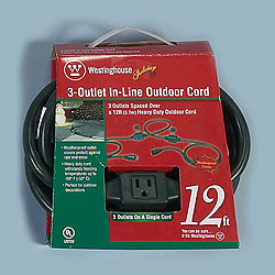 12 Foot Outdoor 3Outlet InLine Extension Cord Green Wire Box of 4