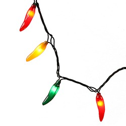 35 Chili Pepper Lights Green Wire Box of 12