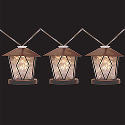 10 LED Battery Operated Metal Lantern Lights With Timer Brown Wire