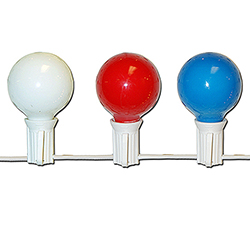 10 Patriotic Red White And Blue G40 Globe Light Set - White Wire