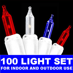 100 Patriotic Red White And Blue Incandescent Mini Light Set - White Wire
