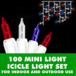 100 Patriotic Red White And Blue Incandescent Icicle Light Set - White Wire