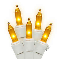 100 Gold String Light Set White Wire 2.5 Inch Spacing Box of 6