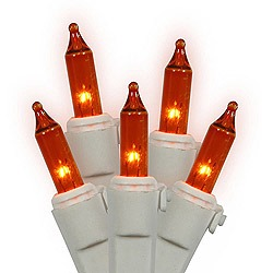 100 Amber String Light Set White Wire 2.5 Inch Spacing Box of 6