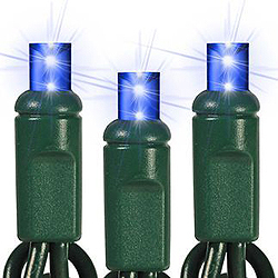 25 Commercial Grade LED 5MM BlueString Lights - Green Wire