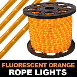 150 Foot Fluorescent Orange Rope Lights 2 Foot Increments