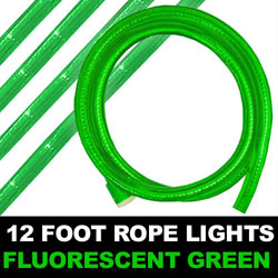 Fluorescent Green Rope Lights 12 Foot