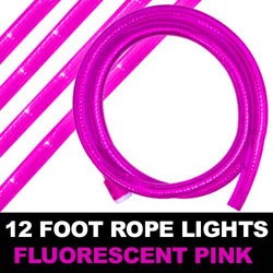 Fluorescent Pink Rope Lights 12 Foot