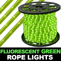 300 Foot Fluorescent Green Mini Rope Lights 3 Foot Increments