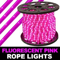 300 Foot Fluorescent Pink Mini Rope Lights 3 Foot Increments