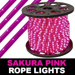 300 Foot Sakura Pink Mini Rope Lights 3 Foot Increment