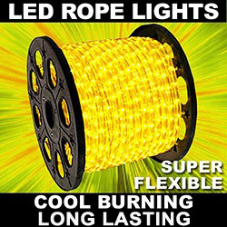 150 Foot LED Yellow Mini Rope Lights 3 Foot Increment