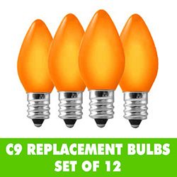 12 Incandescent C9 Ceramic Orange Replacement Light Bulbs