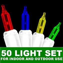 50 Mini Multi String Light Set White Wire