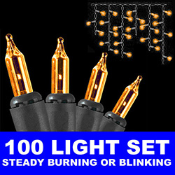 100 Mini Orange Halloween Icicle Light Set 6 Inch Spacing Black Wire
