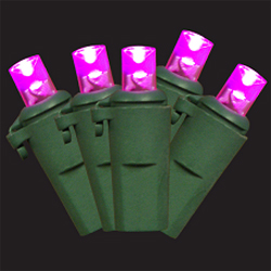 60 LED 5MM Pink String Lights - Green Wire
