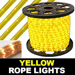 150 Foot Rectangle Yellow Rope Lights 18 Inch Increments