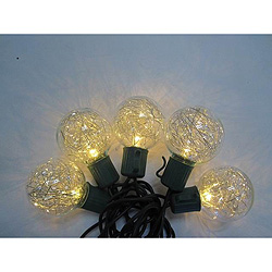 10 Silver Tinsel G40 LED 5MM LED Warm White Christmas Lights - Green Wire