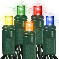 60 LED 5MM Multi String Lights - Green Wire