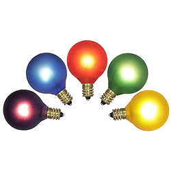 5 Incandescent G40 Multi Color Twinkle C7 Socket Replacement Bulbs
