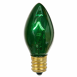 25 Incandescent C7 Green Transparent Retrofit Night Light Replacement Bulbs