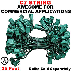 25 Foot C7 Light String 12 Inch Socket Spacing Green Wire