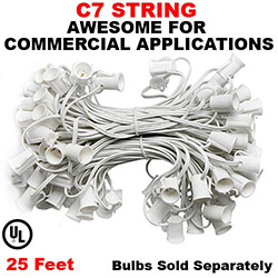 25 Foot C7 Molded Light String 12 Inch Socket Spacing White Wire