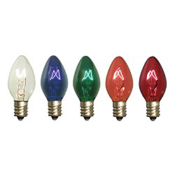 25 Incandescent C9 Multi Color Twinkle Transparent Retrofit Replacement Bulbs