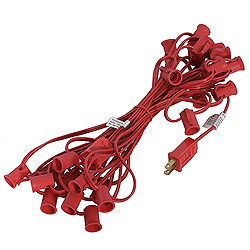25 Foot C9 Light String 12 Inch Socket Spacing Red Wire