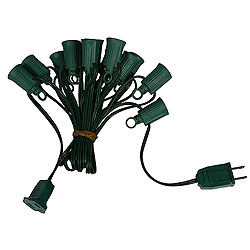 25 Foot C9 Fused Light String 12 Inch Socket Spacing Green Wire