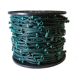 1000 Foot C9 Light Spool Green Wire 15 Inch Spacing