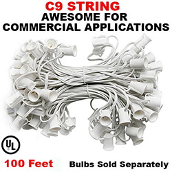 100 Foot C9 Light Spool White Wire 12 Inch Spacing