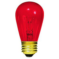 10 Incandescent S14 Patio Transparent Red Retrofit Replacement Bulbs