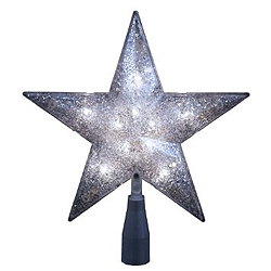 8 Inch Silver Two Sided Star Tree Top 10 Clear Lights