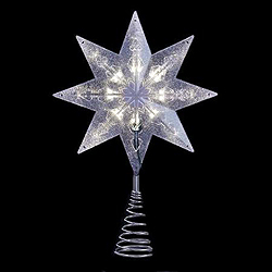 8 Inch Clear Two Sided Eight Point Star Tree Top 10 Clear Lights
