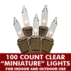 100 Incandescent Mini Clear String Light Set Brown Wire