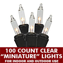 100 Light Clear 4 Inch Spacing Black Wire