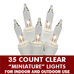35 Clear Wedding Lights White Wire